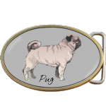Pug Dog Belt Buckle. Code A0039